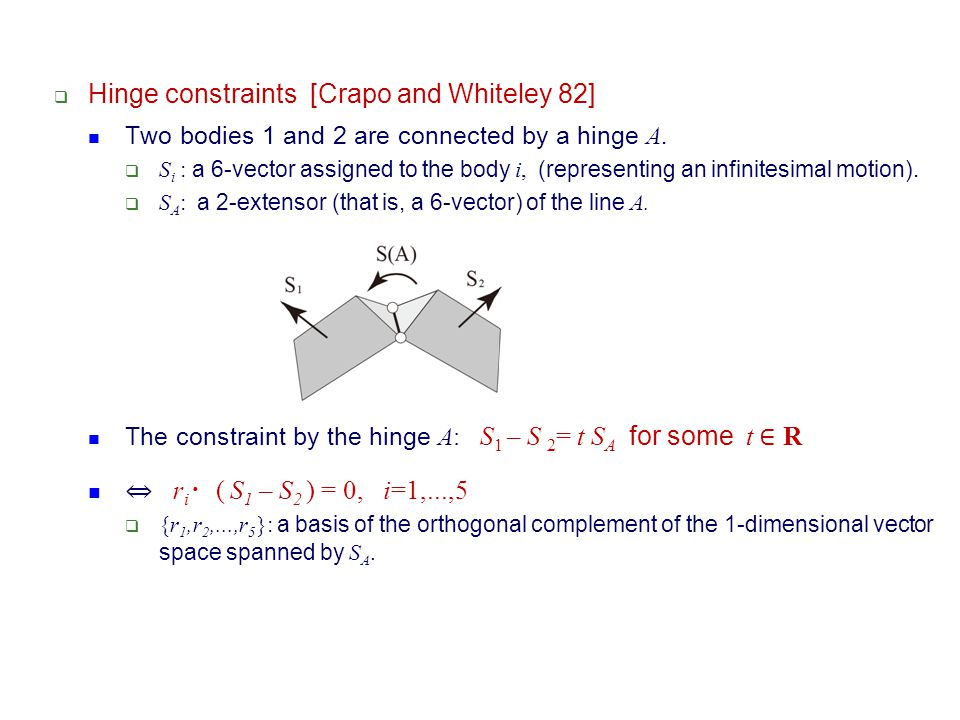 Hinge constraints [Crapo and Whiteley 82]